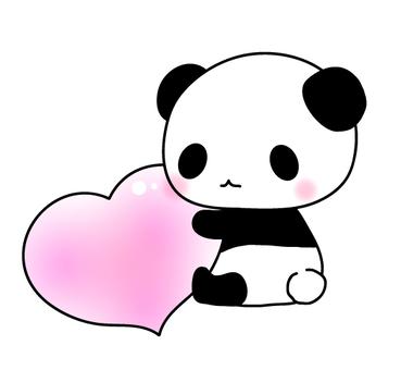 Heart holding panda-chan illustration