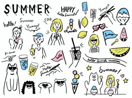 夏季女孩手寫素材