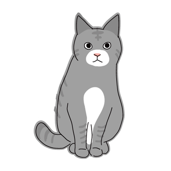 Full body illustration of a cat sitting mackerel cat