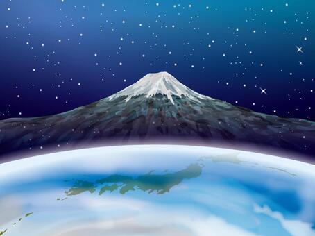 地球和日本地圖和富士山的圖像