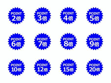 """""""Points 2 to 20 times"""" Blue 2"""
