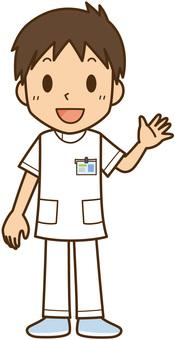 笑顔の白衣看護師・医療従事者:男性