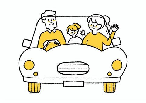 三人家庭開車