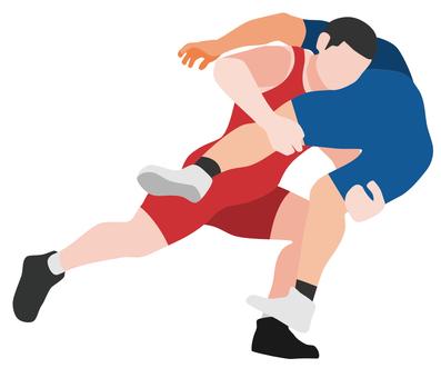 Silhouette wrestling men's tackle