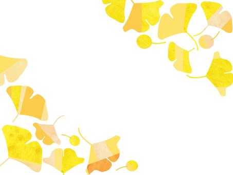 銀杏傾斜框架水彩風格