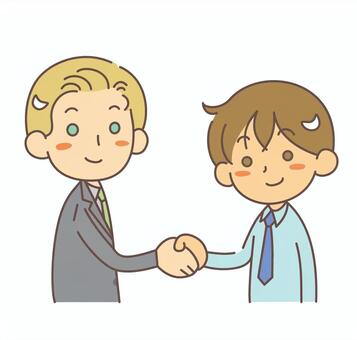 Shaking hands Foreign men and Japanese men