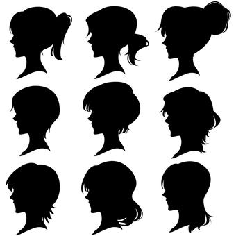 女性 髪型 横顔シルエットセット