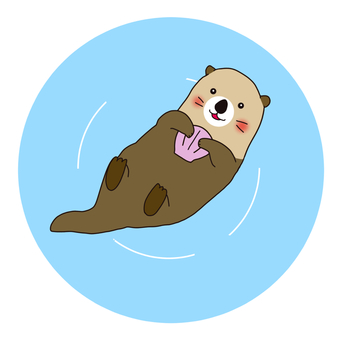 Illustration of a cute sea otter floating on the water