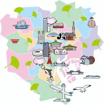東京23區病房圖旅遊地圖