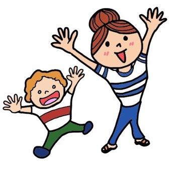 父母和孩子(微笑)圖