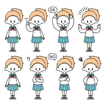 一個穿著水手服的女孩的各種姿勢