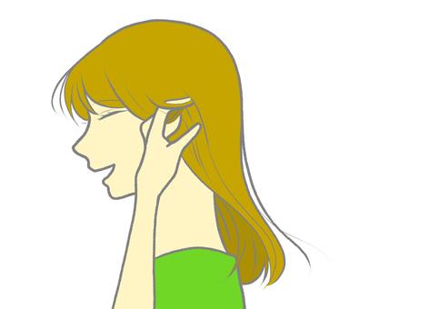 一個長頭髮在耳朵上的女人的無影插圖