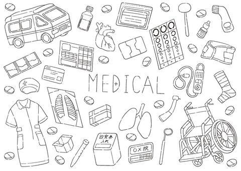 Hand drawn line drawing medical set