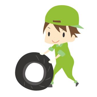 タイヤを転がす作業員2