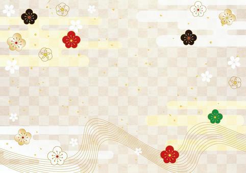 Plum _ lattice_ Japanese paper _ background