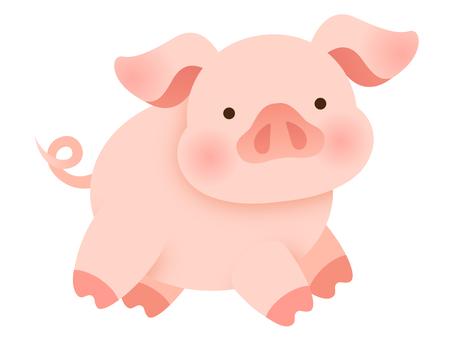 Illustration of a running pig