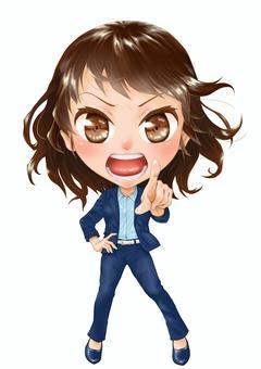 一個穿著西裝的人生氣女人的插圖
