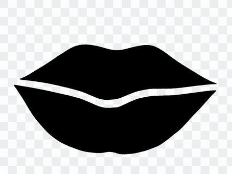 Lip silhouette black and white monochrome