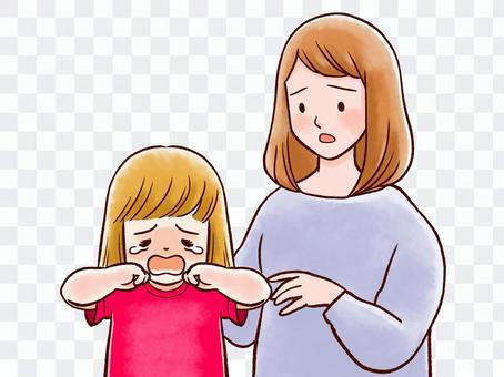 哭泣的孩子擔心媽媽