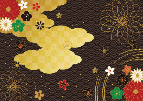 日本圖案和金箔雲_黑色背景2868