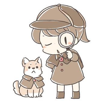 Detective girl and dog