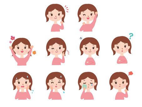 婦女的胸部情緒和聲音集