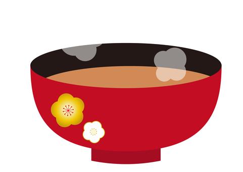 7幅插圖(味噌湯,梅花圖案,蒸汽)