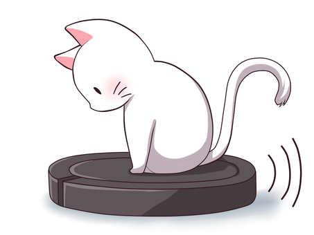 貓騎著機器人吸塵器(白色)