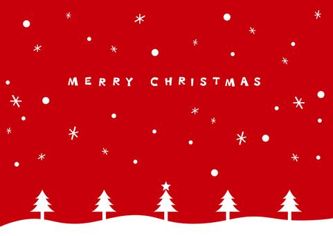 聖誕賀卡/雪紅色
