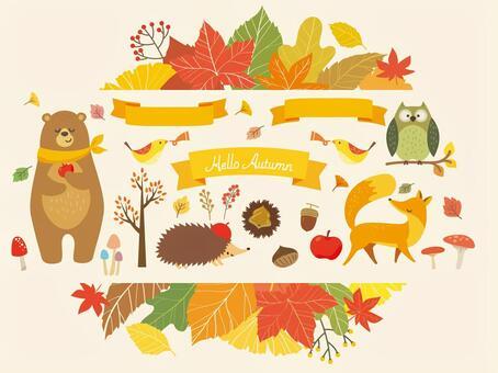 秋天的樹葉框架和動物插圖