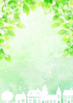 新鮮的綠色和城市景觀垂直
