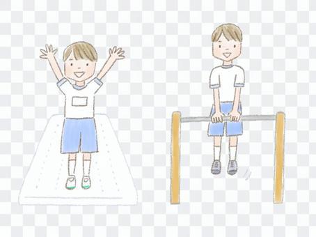 在體育課上盡力而為的小學生